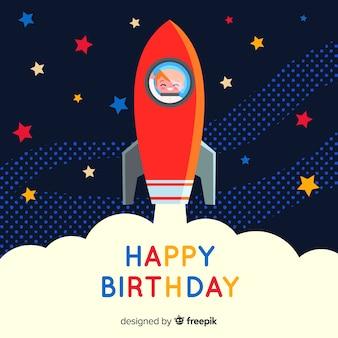 Uśmiechnięty astronauta urodzinowy tło