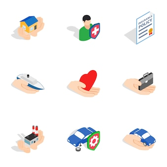 Ubezpieczenia ikony, izometryczny styl 3d