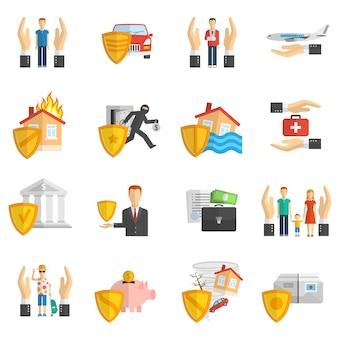 Ubezpieczenia wielokolorowe płaski zestaw ikon