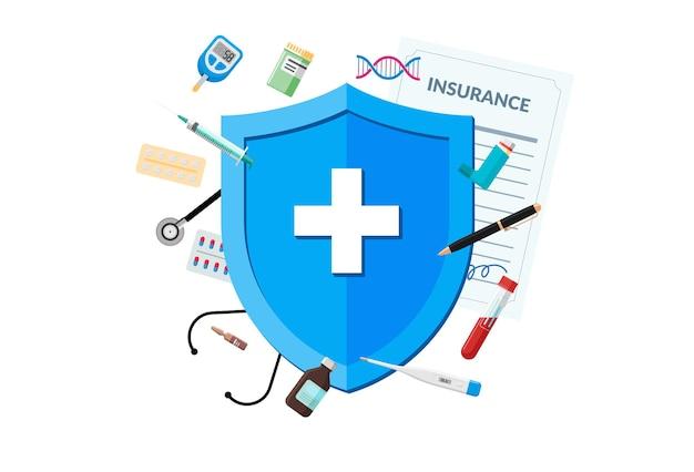 Ubezpieczenie medyczne lub koncepcja układu odpornościowego czerwona tarcza na polisie ochrony pacjenta z medycyną