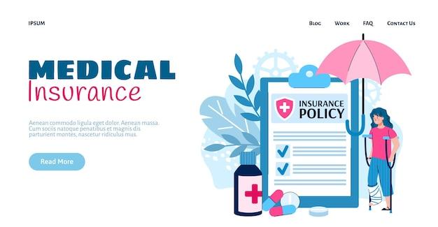 Ubezpieczenie medyczne w przypadku urazu w płaski wektor ilustracja na białym tle