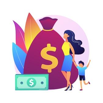 Ubezpieczenie na życie. płatności z tytułu dobrostanu. zapewnienie ryzyka. rodzic z dzieckiem, matka z dzieckiem, kobieta z dzieckiem. bezpieczne rodzicielstwo. torba z pieniędzmi. ilustracja koncepcja na białym tle.