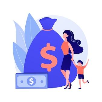 Ubezpieczenie na życie. płatności z tytułu dobrostanu. zapewnienie ryzyka. rodzic z dzieckiem, matka z dzieckiem, kobieta z dzieckiem. bezpieczne rodzicielstwo. torba z pieniędzmi. ilustracja wektorowa na białym tle koncepcja metafora.