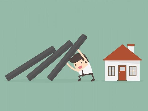 Ubezpieczenie nieruchomości i koncepcja bezpieczeństwa.