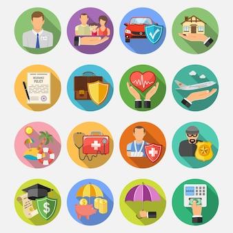 Ubezpieczenie okrągłe płaskie ikony zestaw z długim cieniem na plakat, witrynę internetową, reklamę jak dom, samochód, medycyna i biznes. ilustracja wektorowa na białym tle
