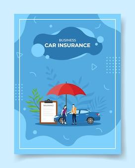 Ubezpieczenie samochodu biznesowego ludzi wokół parasola umowy ubezpieczenia samochodu