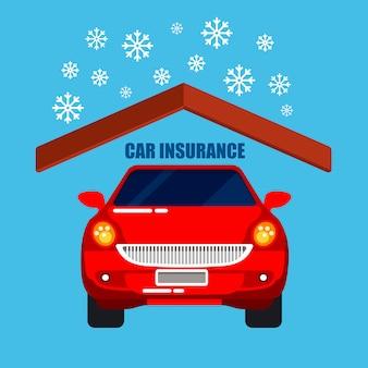 Ubezpieczenie samochodu. ochrona samochodu. bezpieczeństwo życia. ilustracja wektorowa