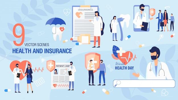 Ubezpieczenie zdrowotne, dzień zdrowia scena płaski zestaw