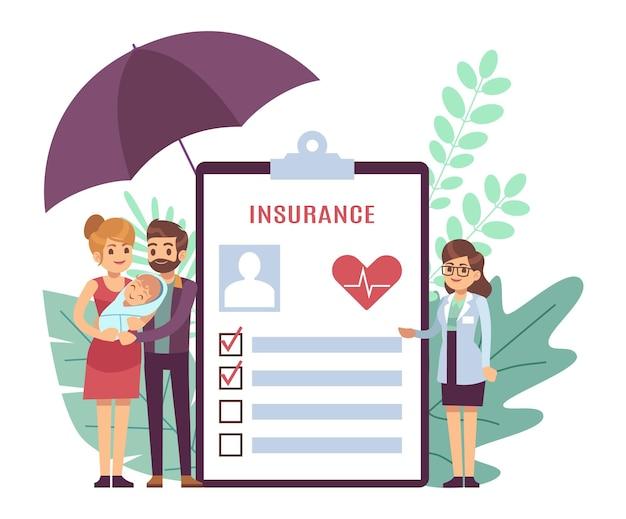 Ubezpieczenie zdrowotne. małe postacie lekarz i młodzi rodzice z noworodkiem, formularz dokumentu medycznego dla pacjentów, lista kontrolna medycyny ze znacznikami, koncepcja opieki zdrowotnej płaski wektor ilustracja
