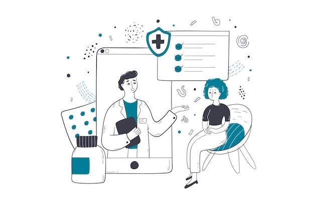 Ubezpieczenie zdrowotne, medycyna online, ilustracja koncepcja konsultacji