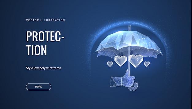Ubezpieczenie zdrowotne. parasol wielokątny, chroniący serce. lekarz trzymając parasol, osobę chroniącą serce, symbolizującą bezpieczeństwo lub oszczędności życia