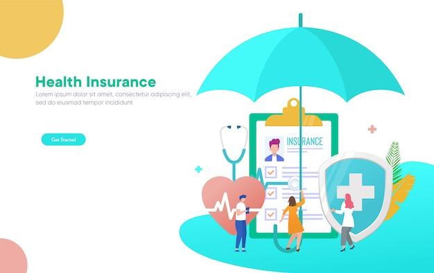 Ubezpieczenie zdrowotne wektor ilustracja koncepcja, ludzie z lekarzem wypełnić formularz ubezpieczenia zdrowotnego