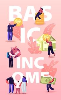 Ubi, ilustracja universal basic income. postacie z monetami i pieniędzmi