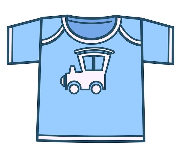Ubrania dla dzieci i moda, na białym tle ikona niebieskiej chłopięcej koszulki z nadrukiem samochodu, samochodu lub lokomotywy. odzież dla nastolatków lub noworodków. stroje dla małych dzieci, wektor w stylu płaski