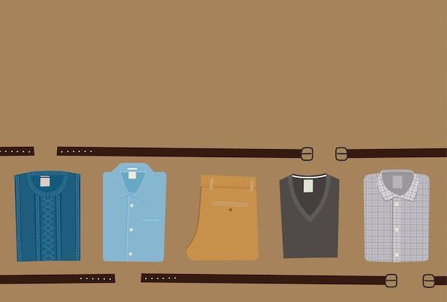 Ubrania moda tło. koncepcja odzieży męskiej. płaski mężczyzna odzież wektor ilustracja eps 10