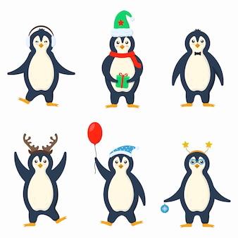 Ubrania pingwinów w płaskich uroczych małych postaciach z kreskówek zimny zimowy zestaw zwierząt antarktycznych ptaków