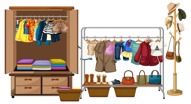 Ubrania wiszące w szafie z rangą akcesoria i ubrania na białym tle