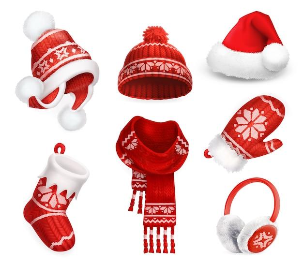 Ubrania zimowe. czapka mikołaja. kapelusz robiony na drutach. świąteczna skarpeta. szalik. rękawica. nauszniki. ikona wektor 3d