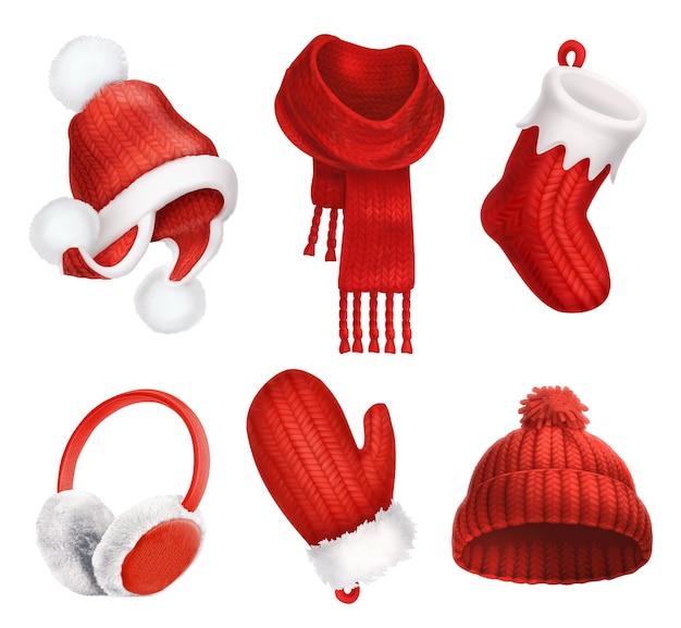 Ubrania zimowe. kapelusz robiony na drutach. świąteczna skarpeta. szalik. rękawica. nauszniki. ikona wektor 3d