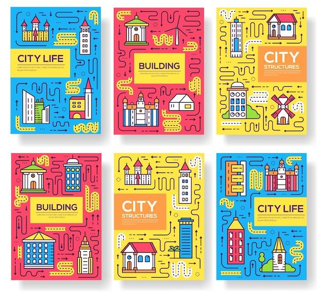 Uburban szablon różnych budynków flyear