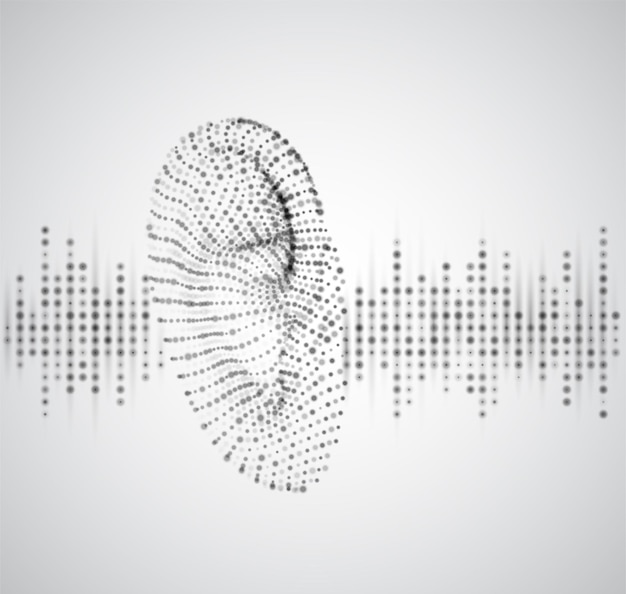 Ucho wektor z punktów i okręgów. pasemka i plamy. muzyka