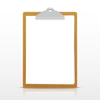 Uchwyt na notatki na kartce papieru. pusta strona wektor na białym tle schowka a4.