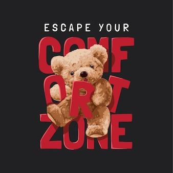 Uciec przed hasłem strefy komfortu z ilustracją wektorową lalki niedźwiedzia na czarnym tle