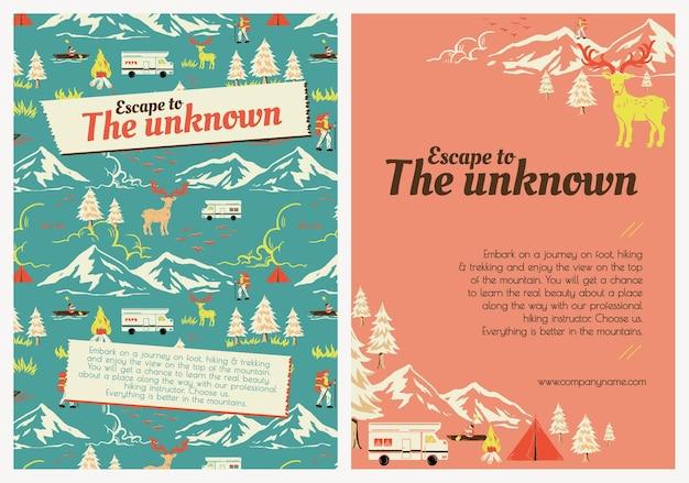 Ucieczka piesza wycieczka szablon wektor wakacje camping plakat zestaw