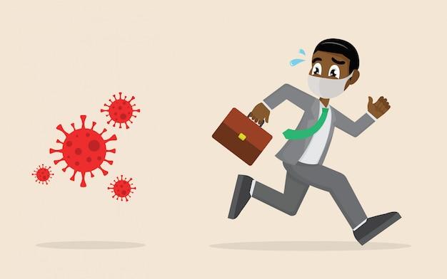 Uciekający biznesmen w panice ucieka przed wirusem covid-19.