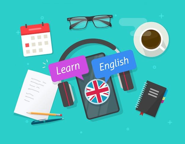 Ucz się angielskiego online na telefonie komórkowym lub ucz się języka obcego na lekcji smartfona na biurkowym stole z płaskim obrazkiem z kreskówki