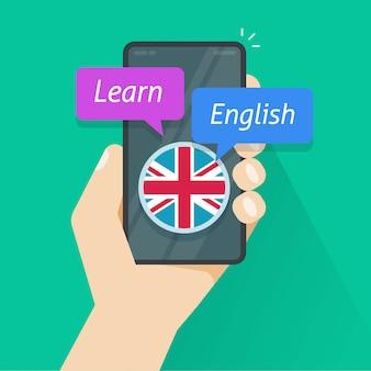 Ucz się angielskiego za pomocą aplikacji na telefon komórkowy lub ucz się języka obcego na płaskim obrazie z kreskówki w smartfonie