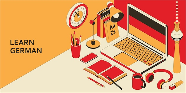 Ucz się koncepcji izometrycznej języka niemieckiego z otwartym laptopem, książkami, słuchawkami i kawą.