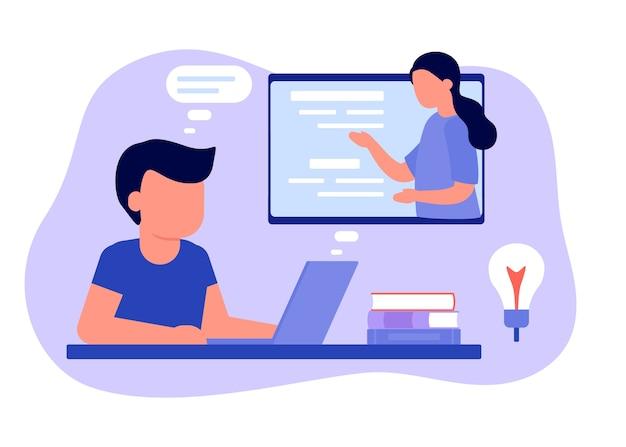 Ucz się na odległość z nauczycielem, edukacja online. chłopiec dziecko siedzi na laptopie i studiuje lekcję. dziecko uczy się zdalnie. szkoła domowa, e-learning w internecie, koncepcja wiedzy. płaski styl