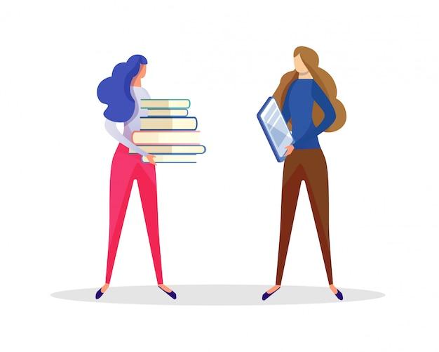 Uczeń dziewczyna komunikuje się z nauczycielem. edukacja