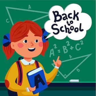 Uczeń dziewczyna przed tablicą z powrotem do tekstu szkoły