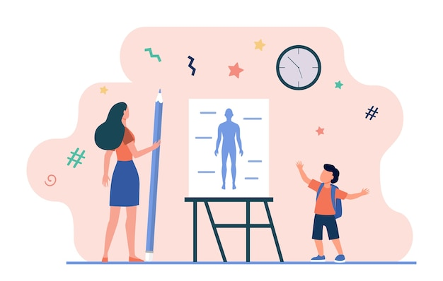 Uczeń mówi lekcję anatomii. nauczyciel z ołówkiem, model ludzkiego ciała na ilustracji wektorowych płaskiej tablicy. szkoła, klasa, edukacja