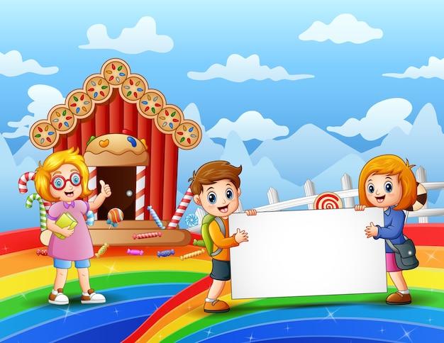 Uczeń na ilustracji słodkiej krainy