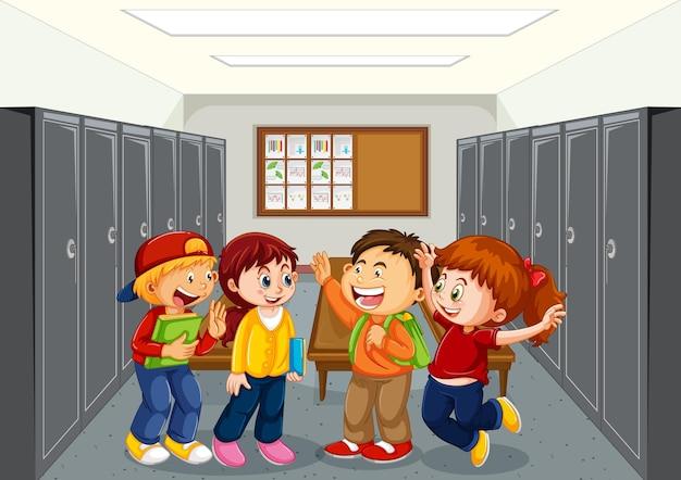 Uczeń na korytarzu szkoły