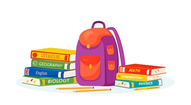 Uczeń plecak i ilustracja podręczników. nauczanie nauk przyrodniczych i formalnych. metafora przedmiotu w szkole średniej. plecak studencki, artykuły papiernicze i książki z kreskówek