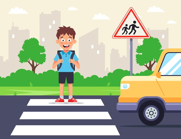 Uczeń przechodzi przez ulicę na przejściu dla pieszych. samochód mija pieszego. znak drogowy uwaga dzieci. płaska ilustracja.