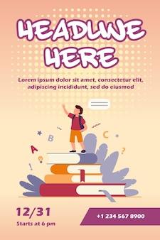 Uczeń stojąc na książkach, podnosząc rękę i mówiąc szablon ulotki