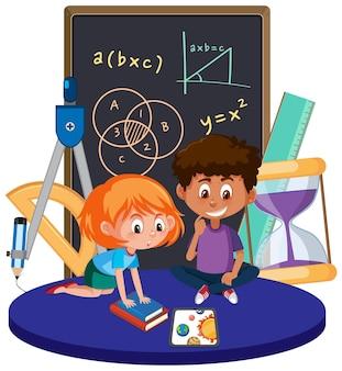 Uczeń uczący się matematyki na białym tle