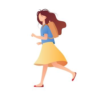Uczeń. uczennica biega na lekcjach. płaska konstrukcja ilustracji wektorowych