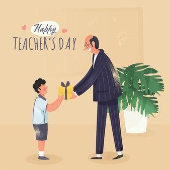Uczeń wręczający prezent swojemu wychowawcy z okazji dnia szczęśliwego nauczyciela.