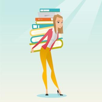 Uczeń z stosem książek wektorowa ilustracja.