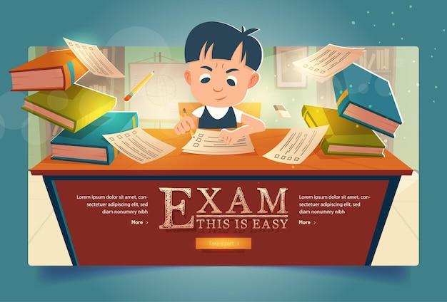 Uczeń zdać egzamin kreskówka transparent chłopiec rozwiązuje test