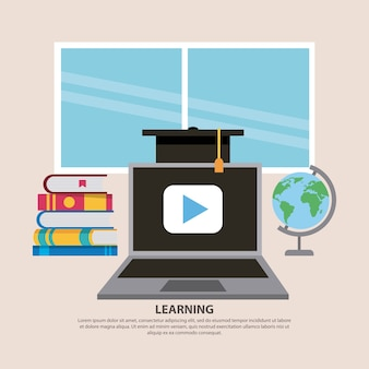 Uczenie się czapki z laptopem i książek