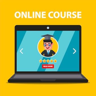 Uczenie się przez internet z laptopa. wybór nauczyciela. płaska ilustracja.