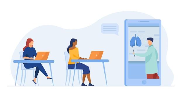 Uczennice uczące się medycyny online. prowadzący prowadzący webinarium, wykres narządów ludzkich. ilustracja kreskówka