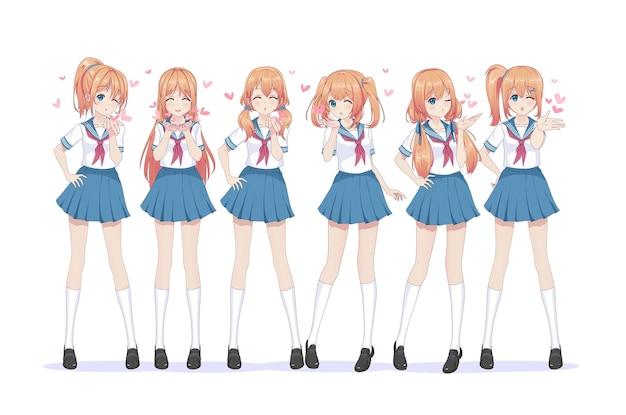 Uczennice z anime manga w marynarzu wysyłają pocałunki w powietrze